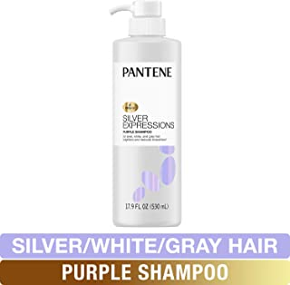 Pantene Silver Expressions, Purple Shampoo and Hair Toner, Pro-V for Grey and Color Treated Hair, Paraben Free, Lotus Flowers, 17.9 Fl Oz