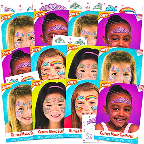 Face Tattoos for Kids Girls Party Favors Halloween Costume Accessories ~ 12 Pack Fairy Rainbow Heart Princess Temporary Tattoos for Kids Face (Party Face Paint)