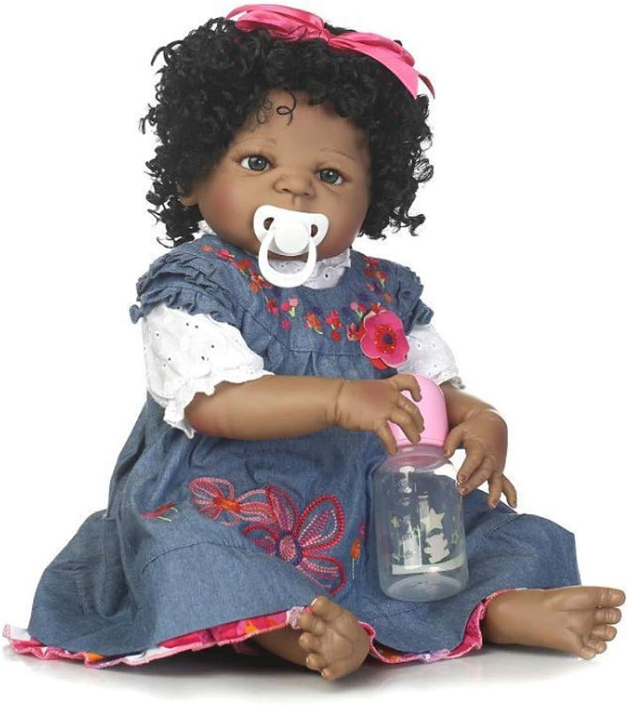 garantizado Set de regalo para muñequita muñequita muñequita de bebé Rizos Negro Baby Girl Doll Rewborn Nursery Baby Alive Doll Realista Pretender el papel Jugar a los Niños Juguetes Cute Baby Girl Doll Realista con ropa Accesorios  alta calidad