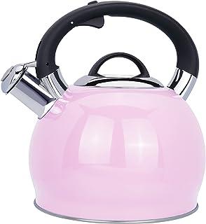2.4 Quart Whistling Tea Kettle Tea Pot for Stove Top, Food Grade Stainless Steel Metal Water Kettle Stovetop Teapot, Teake...