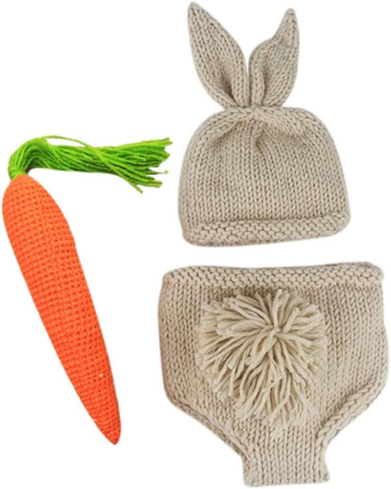 bunny tail Crochet carrots Spring photo prop costume bunny Easter Bunny Beanie Hat and Diaper Cover plain face