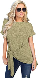 Women's Comfy Casual Short Sleeve Side Twist Knotted Tops Blouse Tunic T Shirts Y3