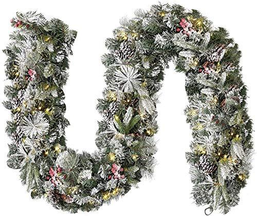 Acebranco Ghirlanda Pre-illuminata con 100 LED Fai da Te con 100 luci a LED per caminetti, Scale, Porte, Albero di Natale, Giardino, Cortile, con Timer (Neve Floccata, Pre-illuminata)