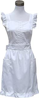 Hyzrz Retro Fancy Cute Cotton Frilly Kitchen White Apron Flirty Baking Cooking Aprons for Womens with Pockets Vintage (White)