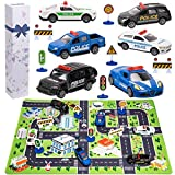 Poilce Car Toys for 2 3 4 5 6 Year Old Boys, Police Toys Include 6 Diecast Police Cars, 6 Road Signs and 15.5' x 23.5' Playmat, Pull Back Metal Toy Cars, Best Gifts for 2 3 4 5 Year Old Boys Toddlers