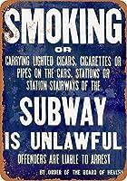 地下鉄での喫煙は違法です メタルポスター壁画ショップ看板ショップ看板表示板金属板ブリキ看板情報防水装飾レストラン日本食料品店カフェ旅行用品誕生日新年クリスマスパーティーギフト