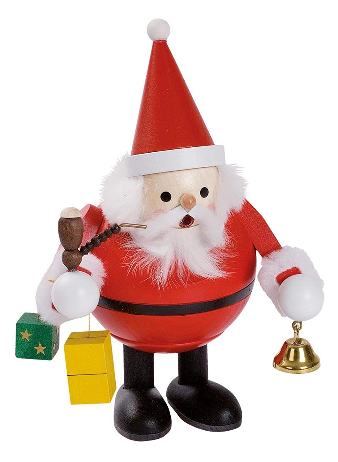 カビ圧倒的ケントSanta Claus with Bell and presents German木製クリスマスIncense Smokerドイツ