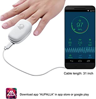 FDA Cleared, AUPALLA Non Battery Fingertip Smart Pulse Oximeter, Monitor Oxygen Saturation SpO2 Pulse Rate Perfusion Index Works iPhone and Android Phones (a)