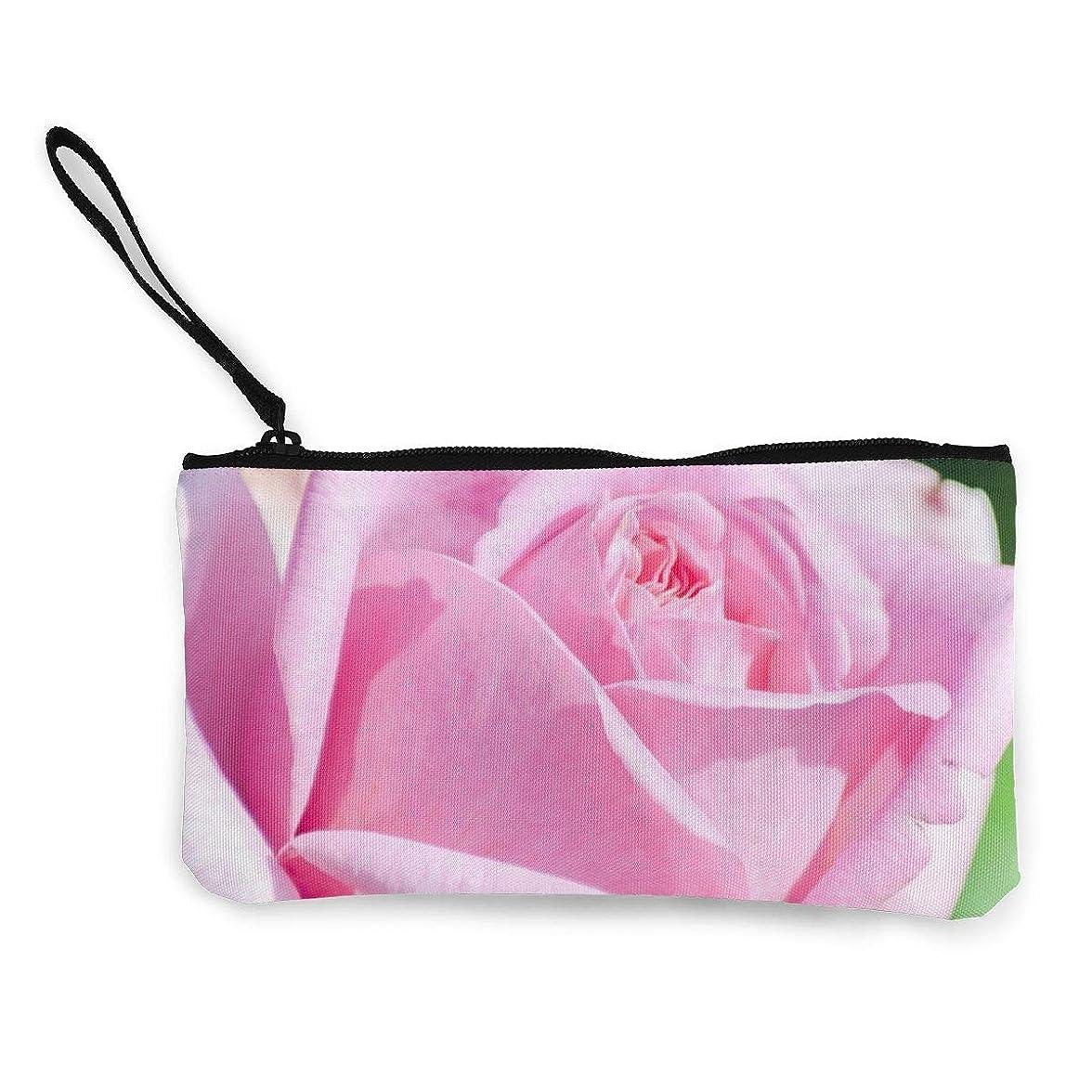 メタン症候群境界ErmiCo レディース 小銭入れ キャンバス財布 桃色のバラ 小遣い財布 財布 鍵 小物 充電器 収納 長財布 ファスナー付き 22×12cm