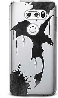 Cavka TPU Phone Case for LG G8 ThinkQ G7 Fit G6 V50 V40 V35 V30 Plus W30 Black Dragon Gift Cute Black Wings Flexible Design Cartoon Print Soft Animation Smooth Kids Slim fit Clear Lightweight Paint