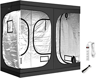 """iPower GLTENTXL1PKIT 96""""x48""""x78"""" Hydroponic Mylar Tent with Observation Window and Removable Floor Tray for Indoor Seedling Plant Growing with Power Strip and 6in Cable Tie, 96"""" x 48"""" x 78"""", Black"""