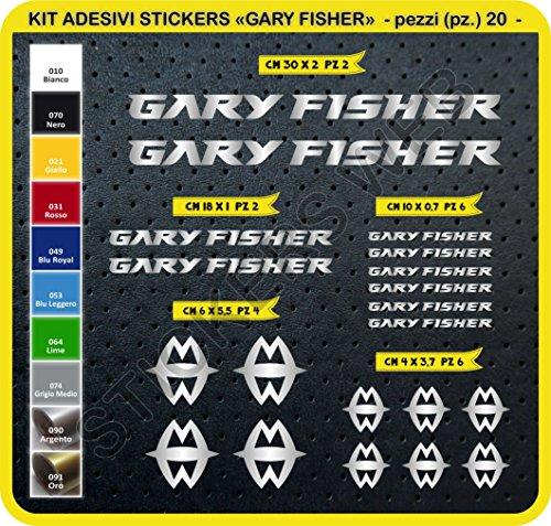 Adesivi Bici Gary Fisher Kit Adesivi Stickers 20 Pezzi -Scegli SUBITO Colore- Bike Cycle pegatina cod.0096 (Argento cod. 090)