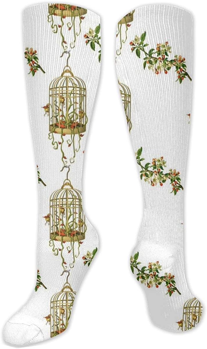 Vintage Gold Birdcage Pattern Knee High Socks Leg Warmer Dresses Long Boot Stockings For Womens Cosplay Daily Wear