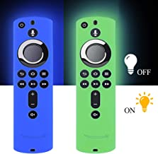 [2 Pack] Silicone Cover Case for TV Firestick 4K / TV (3rd Gen) Compatible with All-New 2nd Gen Remote Control (GlowBlue & Glowgreen)