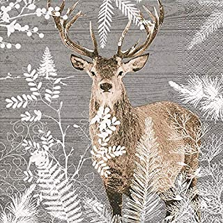 Rustic Christmas Decor Paper Napkins Cocktail Napkins Christmas Party Napkins Holiday Party Disposable Napkins Cabin Decor Imperial Stag 5