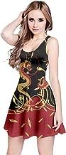 CowCow Womens Vintage Dragon Black Chinese Digital Printed Casual Sleeveless Dress, XS-5XL