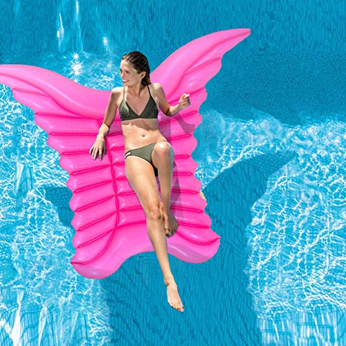 Inflatable Swimming Float, 77'x61' Giant Mosaic Angel Wing Pool Lounger Raft, Inflatable Water Lounge Butterfly Wings, Swimming Pool Party Lounge Raft Decorations Toys for Adults Teens Kids (14+)