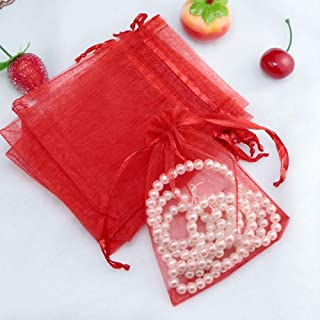100Pcs 25x35cm Organza Gift Bags Drawstring Jewelry Pouches for Candy Wedding Party Christmas Favor Bags,Red