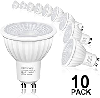 Hizashi Flicker-Free GU10 LED Bulbs, 94 CRI, 50W Halogen Bulb Equivalent, 4.5W 420LM LED Spot Light, 5000K Daylight White LED Light Bulbs Recessed Lighting, Track Lighting, Non Dimmable, 10Pack