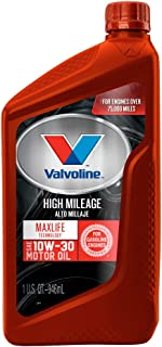 Valvoline High Mileage with MaxLife Technology SAE 10W-30 Synthetic Blend Motor Oil 1 QT
