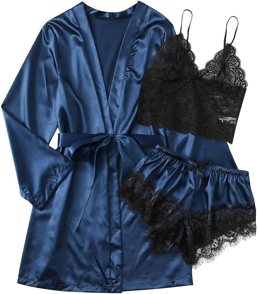 VonVonCo Sexy Lingerie for Women Satin Two Piece Silk Pajamas Nightdress Lingerie Robes Underwear Sleepwear Clothes