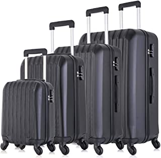 """Fridtrip 4 Piece Luggage Sets Hard Shell Lightweight ABS Luggage Suitcase with Durable Spinner Wheels 16"""" 20"""" 24"""" 28"""" (Black)"""