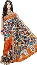 Orange Nakshi Kantha work Pure Bangalore Silk with Acid Paint Saree Sari Bengal Handmade Women Festive Party wear 522