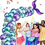MZZYP Mermaid Tail Balloons Arch Garland Kit, 42pcs Blue Green Purple Confetti Globos Latex Set for Mermaid Theme Fiesta de cumpleaños bajo la Fiesta del mar, Ocean Theme Party Decorations Supplies
