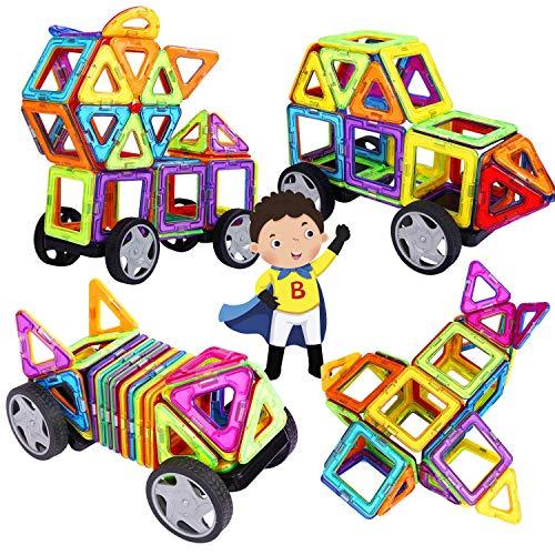 INTEY 32 Stück Magnetische Bausteine DIY Kreativität bestehen aus 98 reinen Magnetbausteine Magneten Auto mit Räden Turmhaus für Geschenk (mit Kreative Buch und Aufbewahrungstasche)