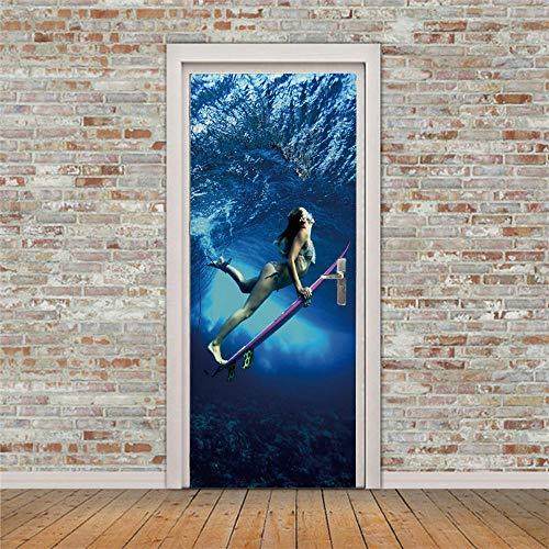 Puerta Pegatinas Mural buceo 77x200 cm 3D Door Sticker Wallpaper Desmontable Sticker Poster DIY Art Decoration