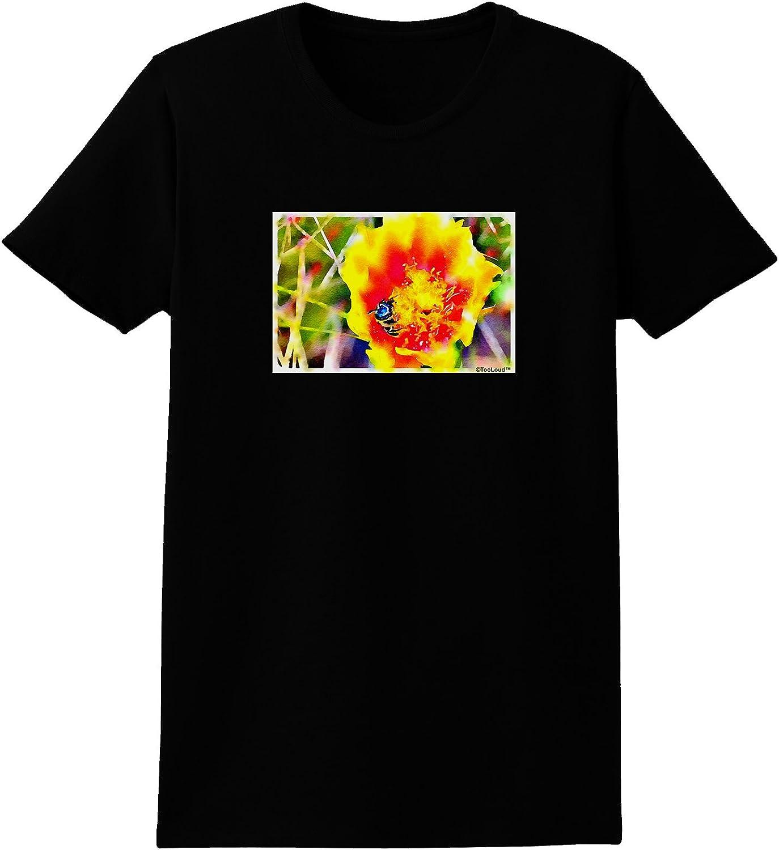 TooLoud Bee Cactus Watercolor Womens Dark T-Shirt