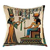 oFloral Old Egyptian Decorative Pillow Case Historical Empire Artwork Throw Pillow Square Cushion Cover for Outdoor Living Room Sofa Couch Home Bedroom Decoration 18' x 18'