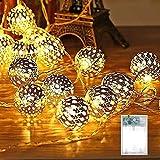 Lichterkette Marokkanische LED Orientalische Silberne Kugeln 2.9M 20LEDs Batteriebetrieben Retro Deko Lichter für Zimmer Terrasse Fenster Garten Warmweiß
