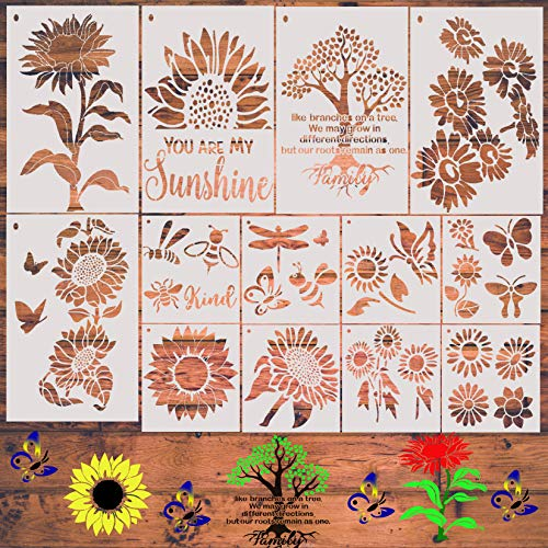 Sunflower Stencil, 13 Pieces Butterfly Stencils for Painting on Wood Canvas Tree Bee Dragonfly Stencil Kit for Paint on Walls DIY Crafts Reusable Mylar Template with Metal Open Ring