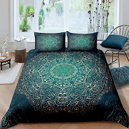 Loussiesd Boho Mandala Juego de ropa de cama estilo bohemio con funda de edredón para niñas y niños, con 2 fundas de almohada