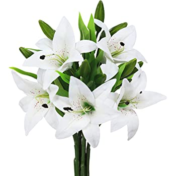 JEDAW Artificial Flowers Tiger Lily Real Touch Fake Flowers for Wedding Home Party Garden Shop Office Decoration Plastic Lily 5 Bouquets Faux Flowers. (White)