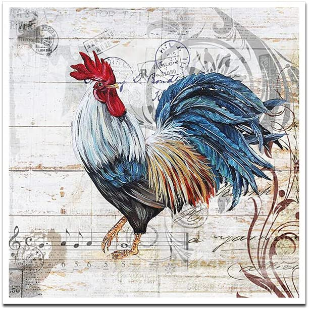 Rooster Poster Farmhouse Wall Decor Vintage Wall Art Farm Animal Kitchen Decor The Rooster Painting Canvas Prints Poster Unframed Rustic Rooster Pictures Farmhouse Home Kitchen Wall Decor