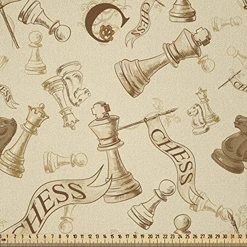 ABAKUHAUS Beige Tela por Metro, Piezas de juego de ajedrez retro, Microfibra Decorativa para Artes y Manualidades, 1M (230x100cm), Beige