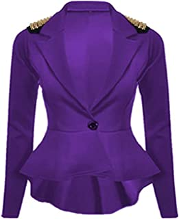 Womens Spikes Studded Crop Peplum Frill Button Blazer Jacket Coat