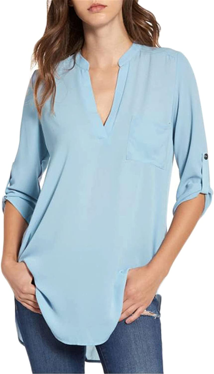 Andongnywell Womens Cuffed 3 4 Mail order cheap Finally resale start Color Loose Sleeve Solid Chiffon