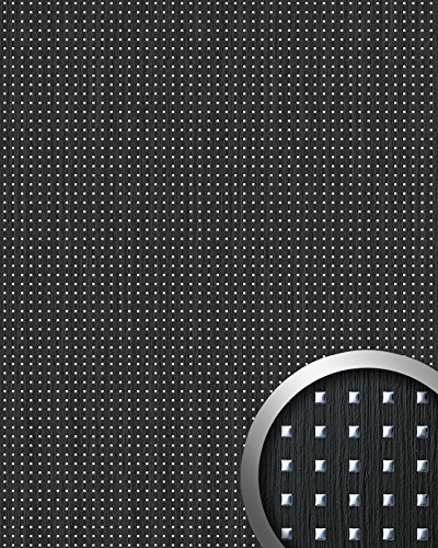 Wandpaneel plakfolie plakplastic keukenkastjes hout design WallFace 12549 3D QUAD 3D vierkant design zwart 2,60 m2
