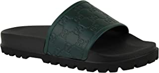 Guccissima Pattern Green/Black Leather Sandals 431070 3020