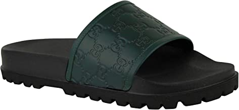 Gucci Guccissima Pattern Green/Black Leather Sandals 431070 3020