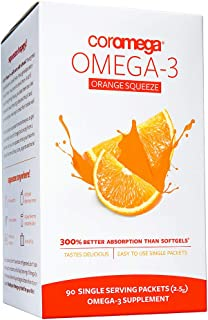 Sponsored Ad - Coromega Omega 3 Fish Oil Supplement, 650mg of Omega-3s with 3X Better Absorption Than Softgels, Orange Fla...