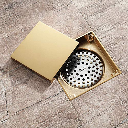 Shower Floor Drain with Removable Cover Wet Room Drainage,Golden Copper Flat Cover Hair Strainer Anti-Clogging Optional Shower Trap,Rollover1