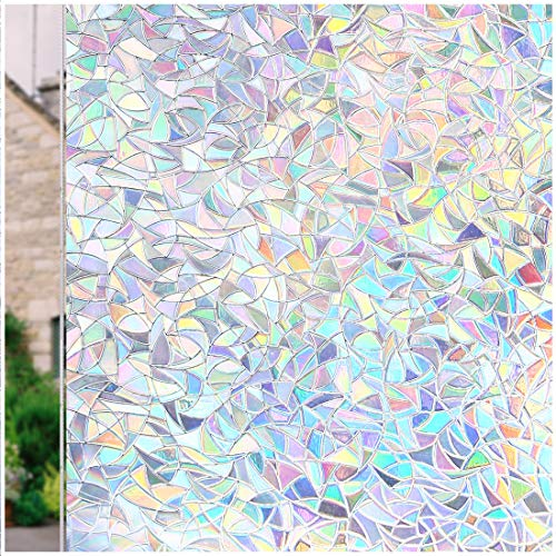 CottonColors Window Film 35.4x118.1 Inches 3D Static Decoration Self Adhesive for UV Blocking Heat Control Privacy Glass Stickers Thickness 0.3mm, for Home Living Room Bedroom