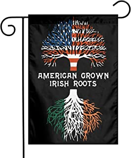 American Grown With Irish Roots Garden Flag Welcome House Flag For Celebration,Festival,Home,Outdoor,Garden Decorations 12 X 18 Inch