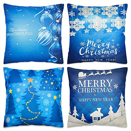 Blissun Christmas Pillow Covers 18 x 18 Inches, Set of 4 Cotton Linen Throw Pillow Covers Square Cushion Case for Christmas Sofa Couch Home Decorations, Blue