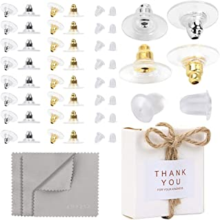 Premium Upgrade Soft Silicone Earring Backs (Gold Color, Silver Color), JJKKZVZ Earring Safety Backs Clear Bullet Eearring Backs (Clear), Earring Backs Stopper with Silver Polishing Cloth