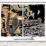 Cortina de Cocina,una Vieja Guitarra Flamenca,Decoraciones de Cocina Cortinas para Ventanas, de Ventanas Juegos de Cortinas Ganchos de Metal incluidos Juego de 2 Paneles de 55 x 39 Pulgadas.